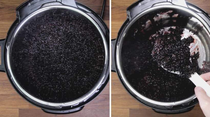 Riz noir en pot instantané (Riz interdit en pot instantané): duvet et servir du riz noir à l'autocuiseur avec le plat principal ou ajouter à la salade.