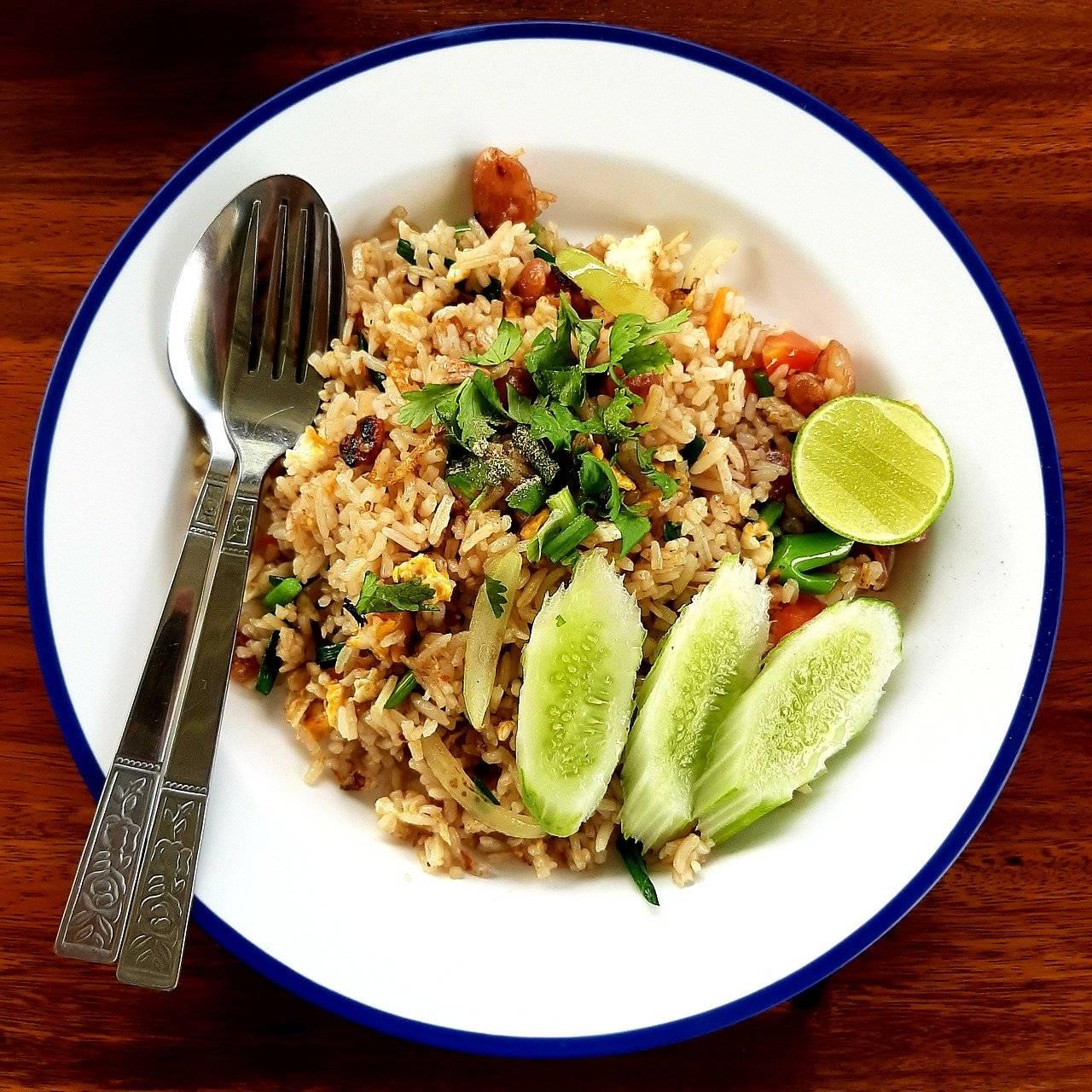 riz frit, nourriture, déjeuner