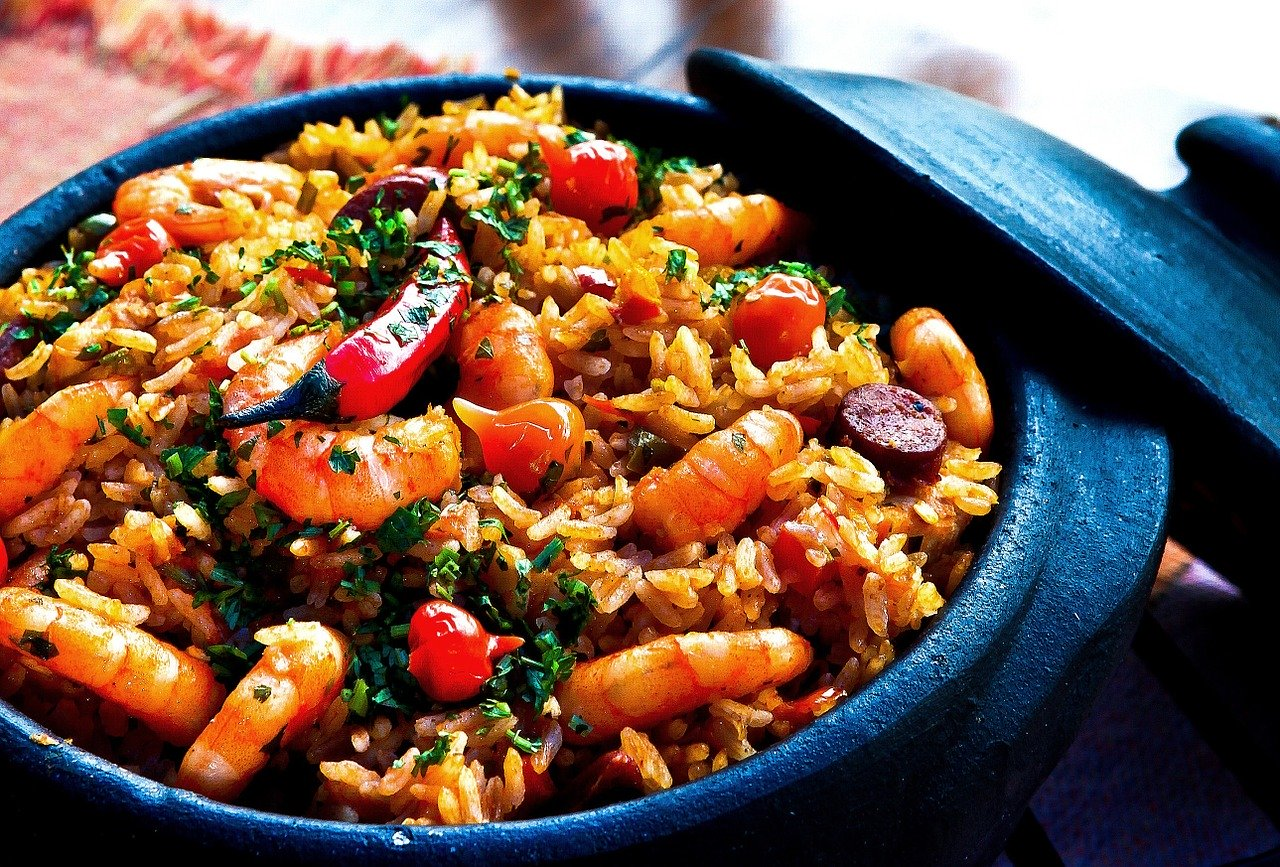 crevettes, riz, poivrons