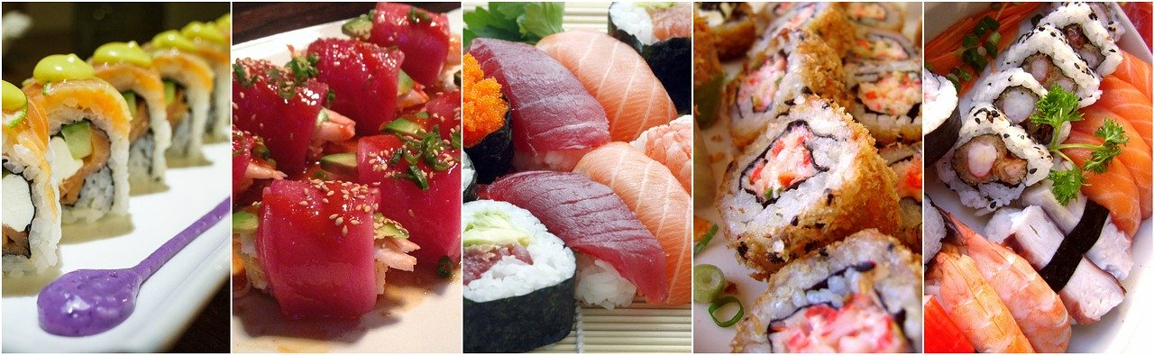 sushi, collage, food