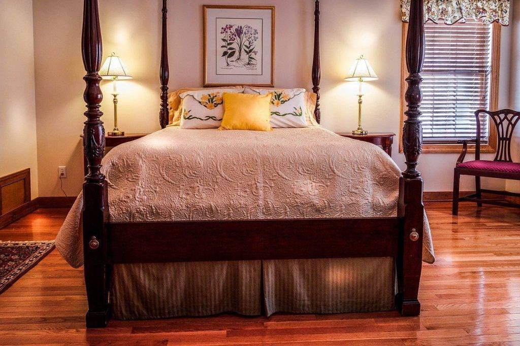 chambre à coucher, lit, baldaquin