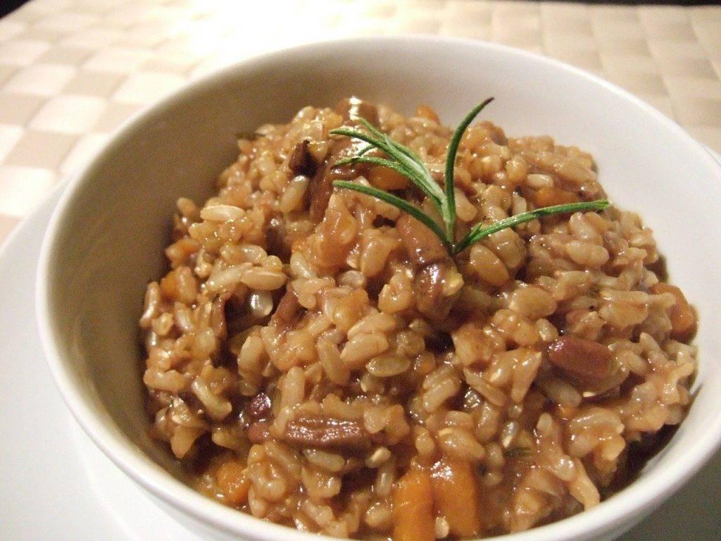 riz brun, risotto, champignons