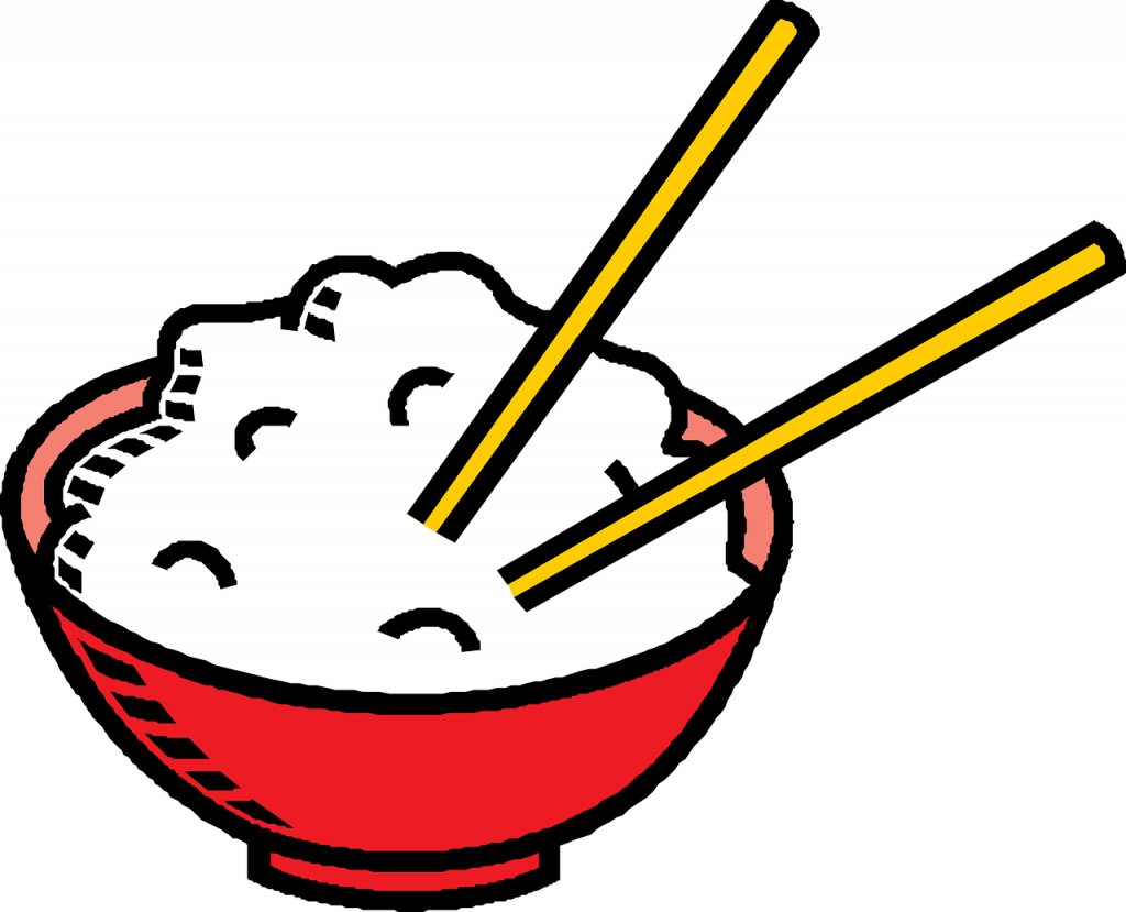 riz, baguettes, bol