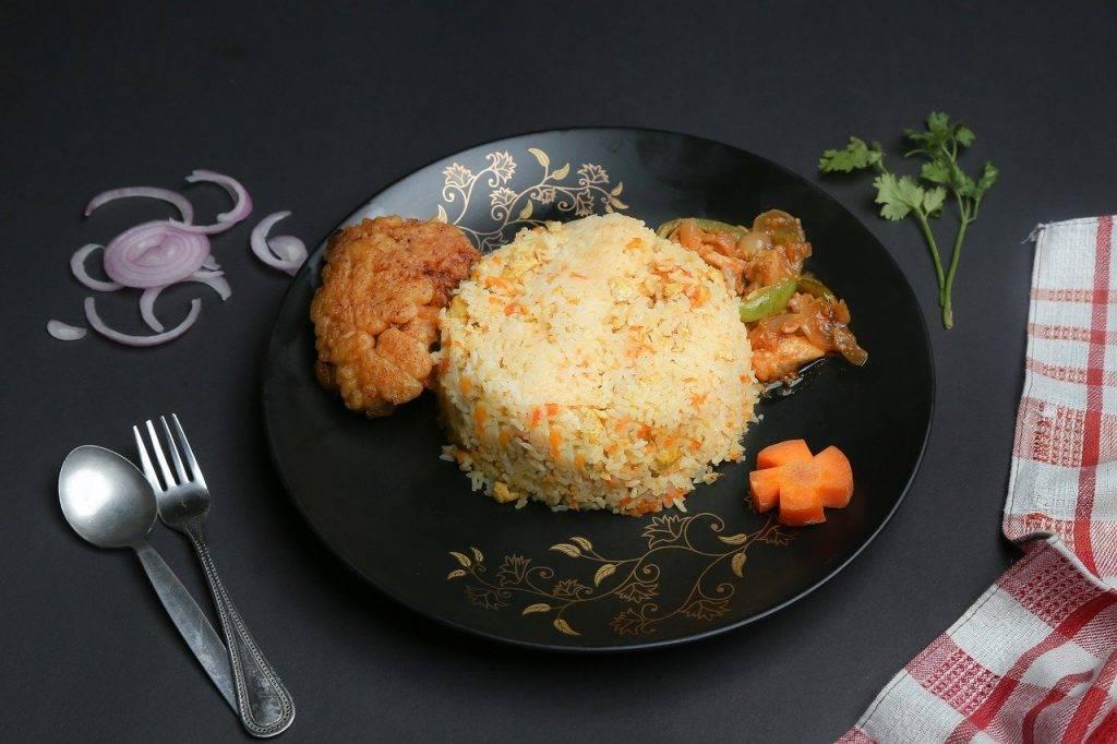 poulet, en bonne santé, riz frit