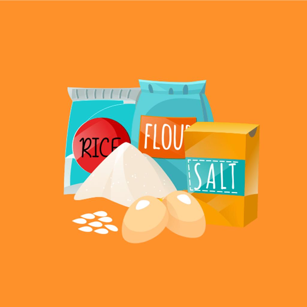 sel, oeuf, riz