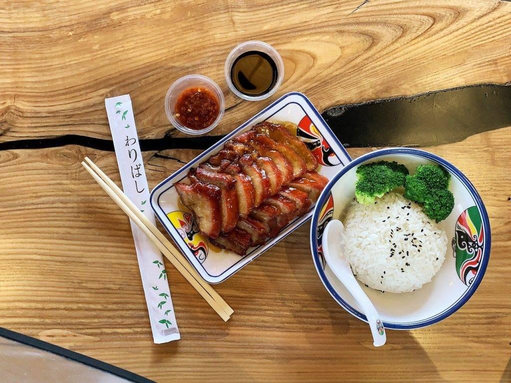 char siu, de porc, nourriture chinoise