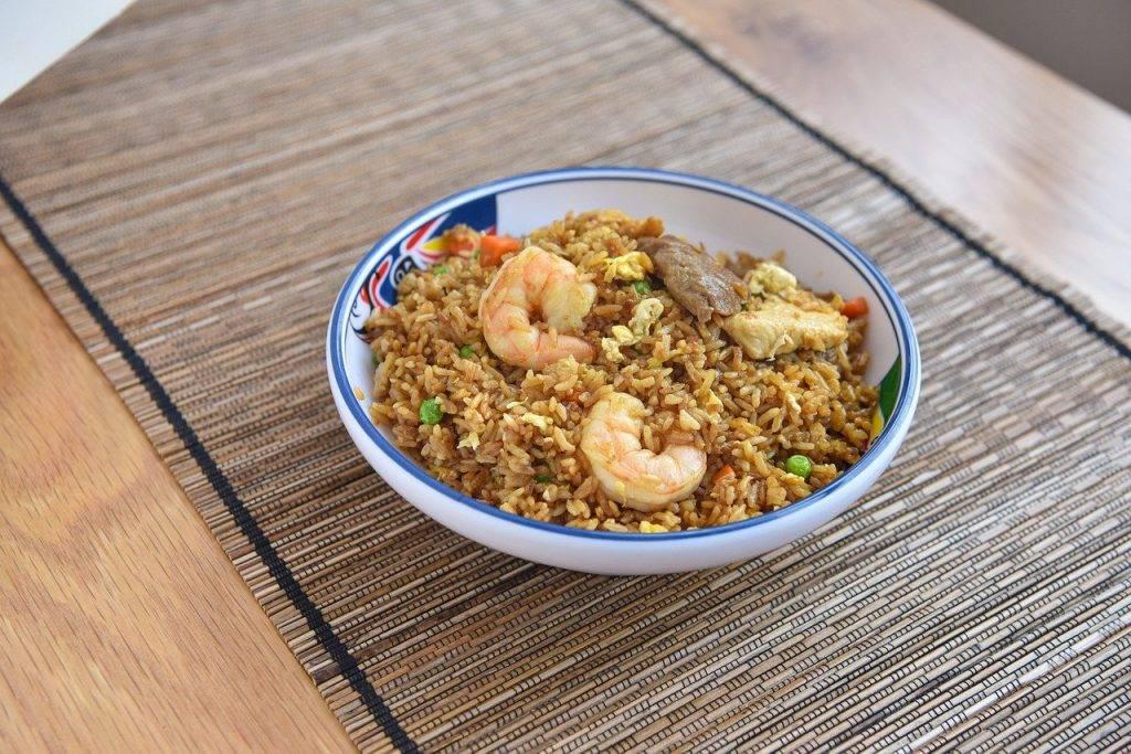 riz frit, asie, crevettes