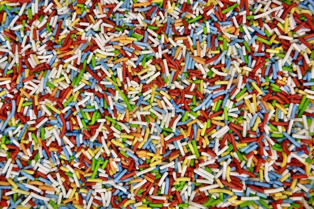 vermicelles colorés, confiserie, vrac