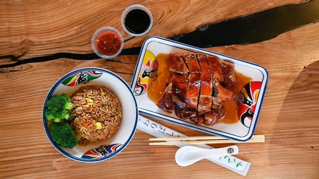 chinois, le canard rôti, repas