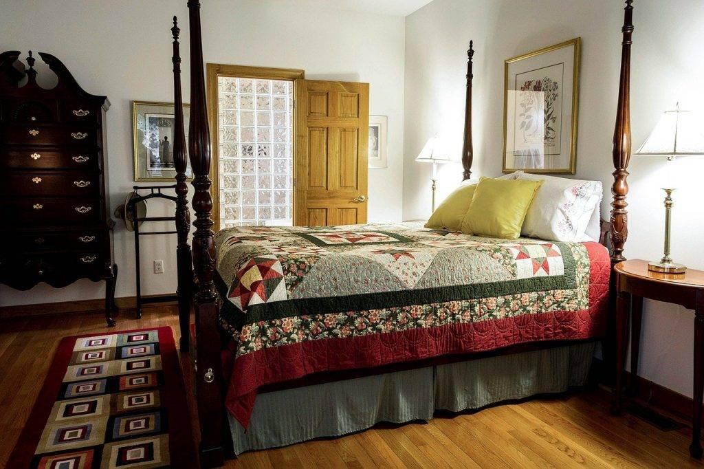 chambre à coucher, housse de couette, lit