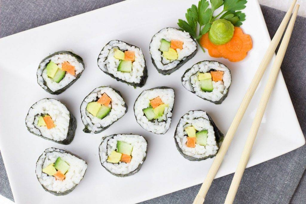 sushi, végétarien, légumes