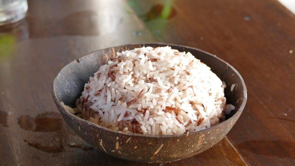 le riz, la noix de coco, manger