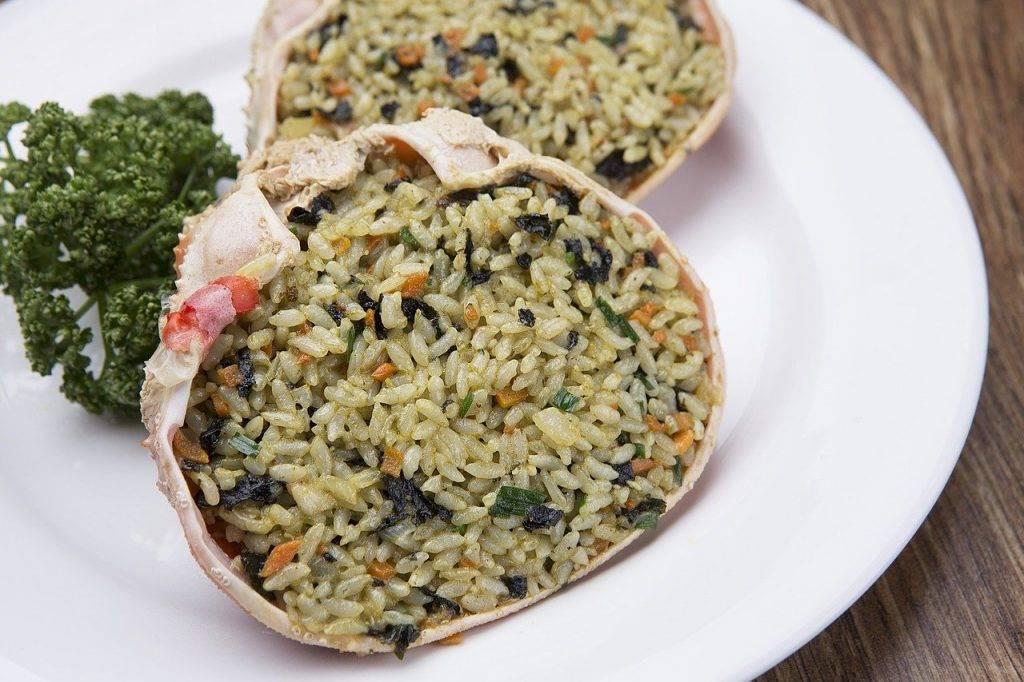 crabe shell riz frit, le crabe des neiges, auto-modération jusqu'à