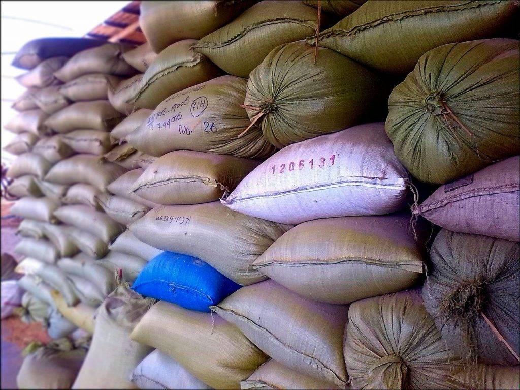 sacs de riz, riz, sacs