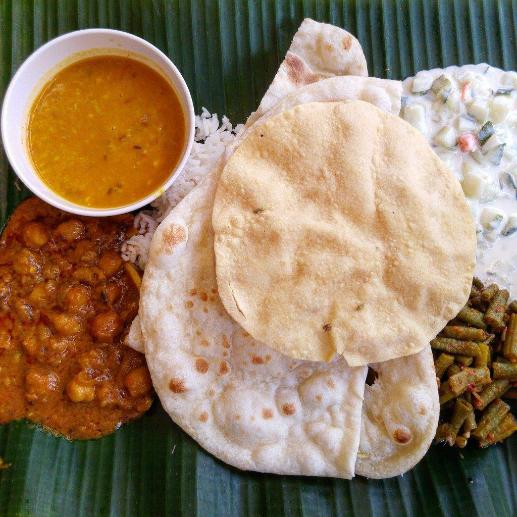 alimentaire, naan, curry