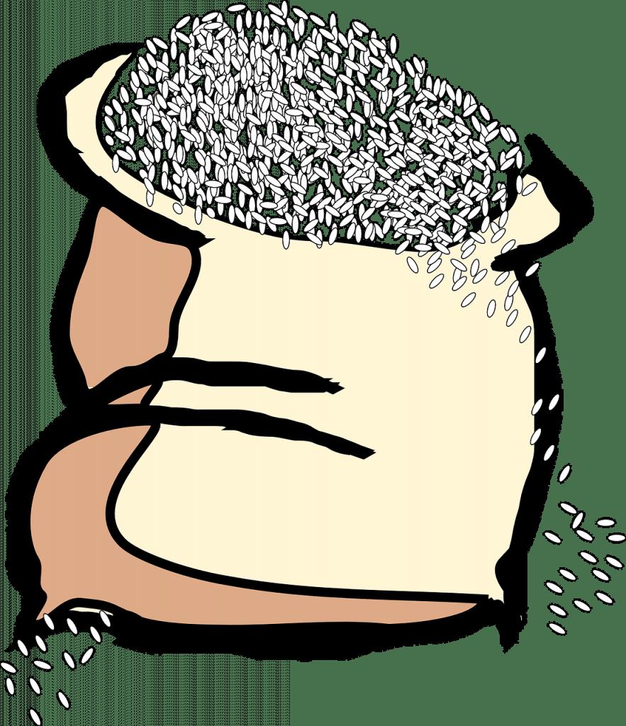 sac, céréales, riz