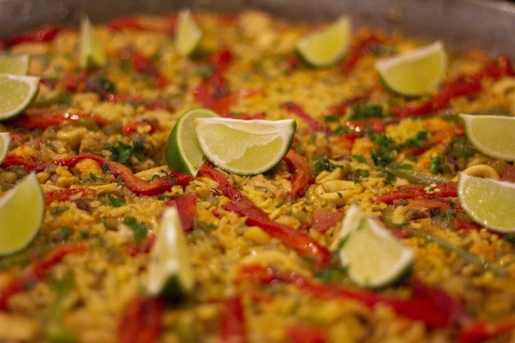 paella, riz, alimentaire
