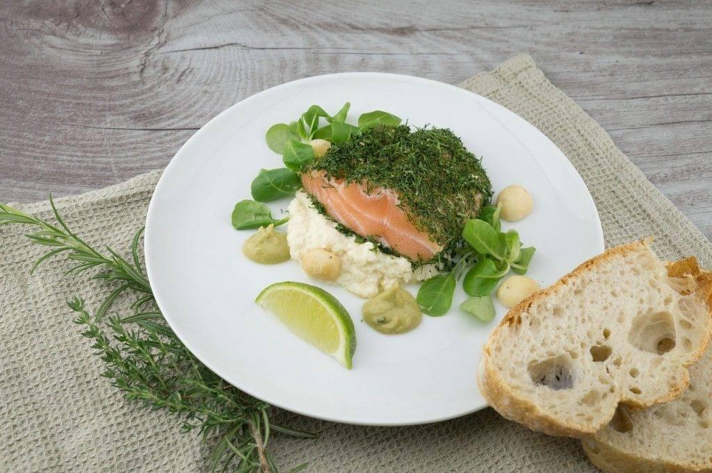 alimentaire, repas, saumon