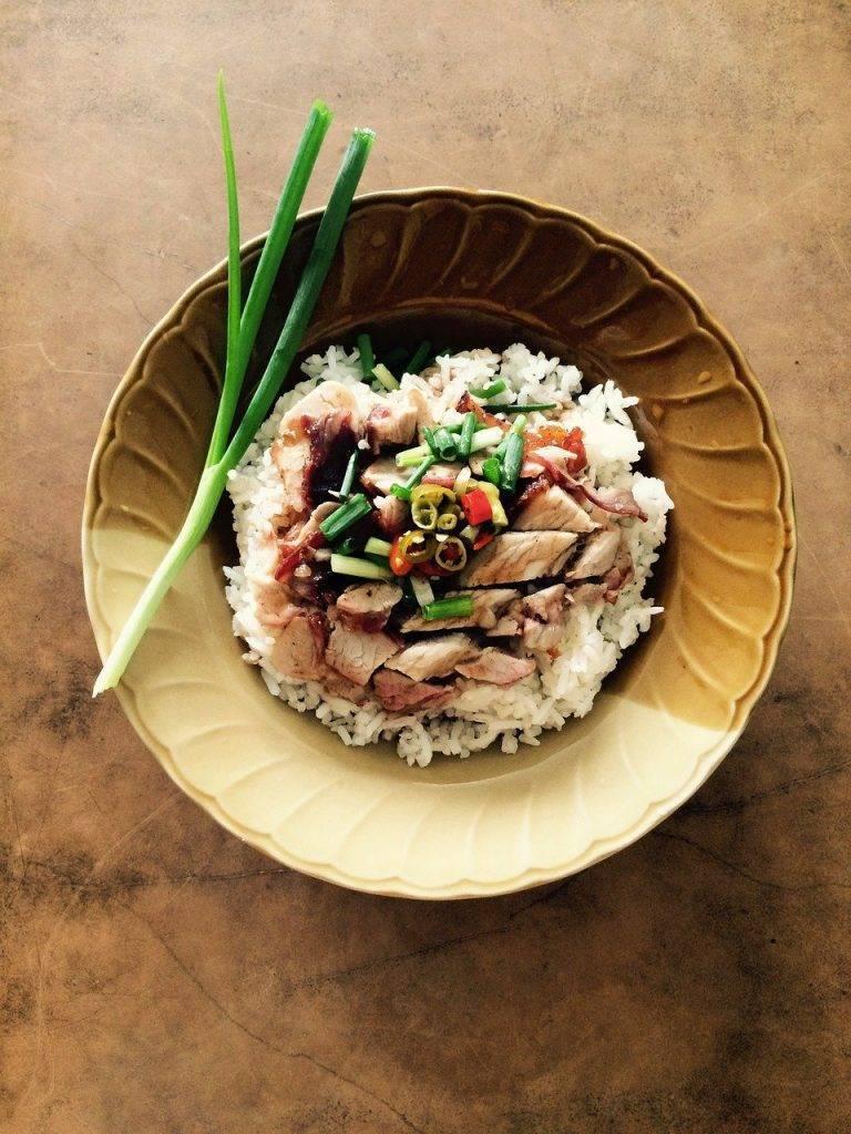 alimentaire, de porc, riz
