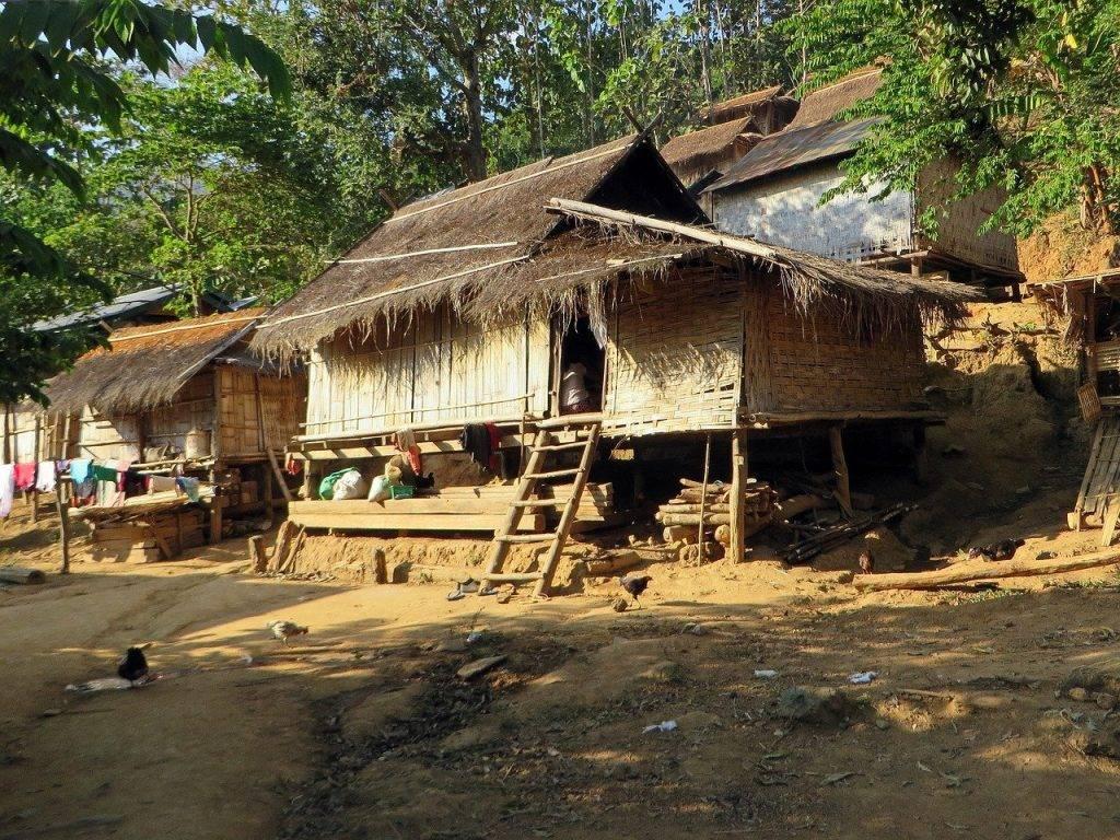 laos, village, maisons