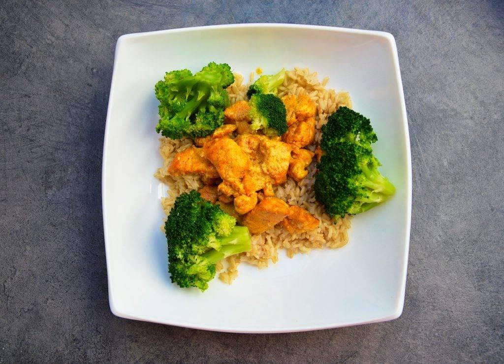 repas, plaque, poulet